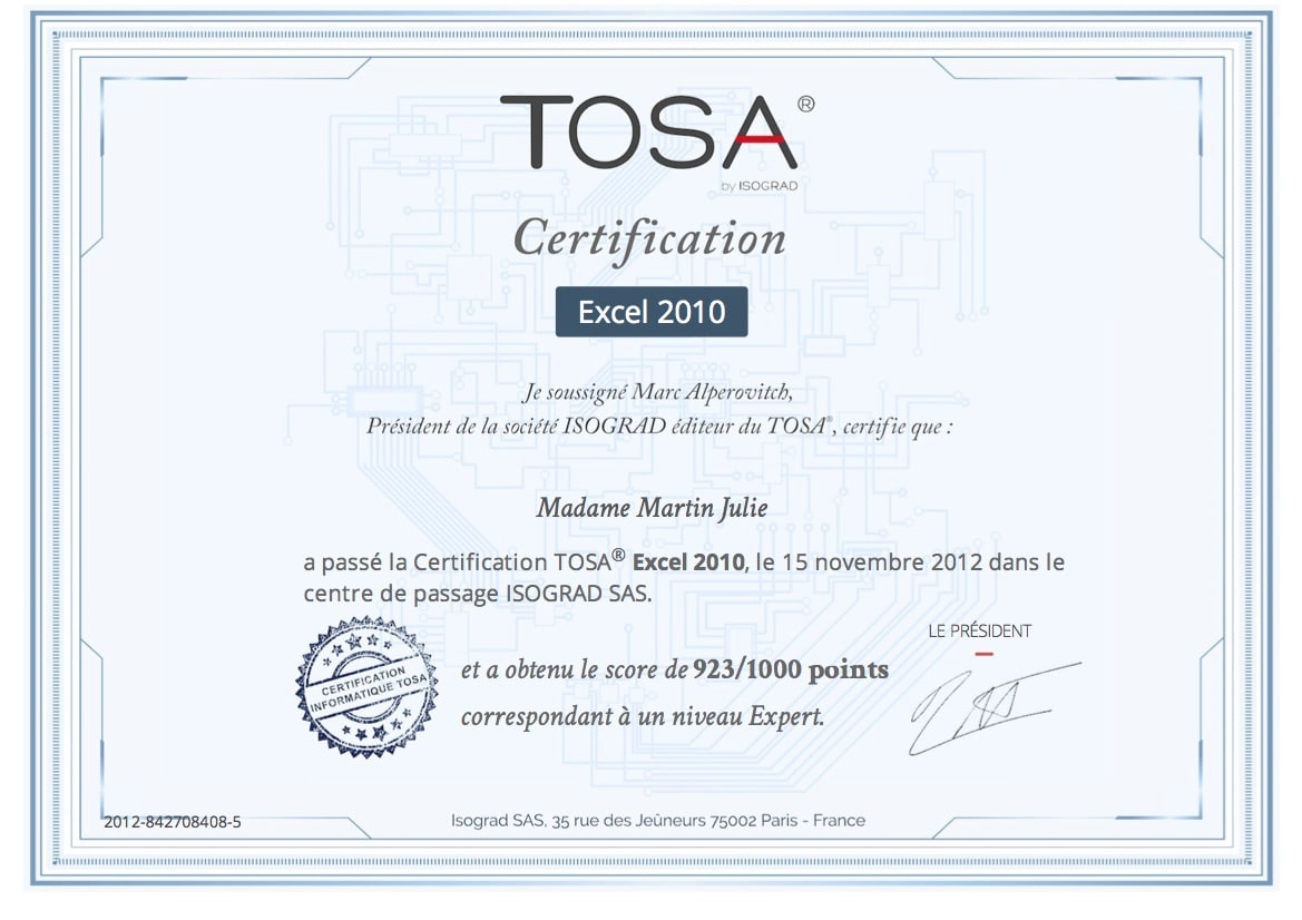 les certifications tosa